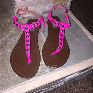 Pink, studded strapped sandals